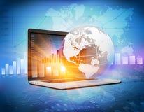Οικονομικά διαγράμματα στον υπολογιστή διανυσματική απεικόνιση