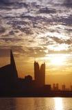Οικονομικά λιμάνι του Μπαχρέιν & WTC κατά τη διάρκεια του ηλιοβασιλέματος Στοκ φωτογραφία με δικαίωμα ελεύθερης χρήσης