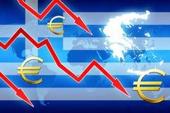 Οικονομικά προβλήματα της Ελλάδας στο κόκκινο υπόβαθρο ειδήσεων έννοιας συμβόλων νομίσματος βελών ευρο- Στοκ Εικόνες