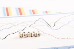 Οικονομικές γραφικές παραστάσεις ανάλυσης στο γραφείο Πωλήσεις γραπτές Στοκ Φωτογραφίες
