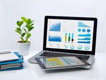 Οικονομικές γραφικές παραστάσεις στο lap-top και την ταμπλέτα Στοκ εικόνα με δικαίωμα ελεύθερης χρήσης