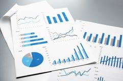 Οικονομικές εκθέσεις η ανάπτυξη γραφικών παραστάσεων επιχειρησιακών διαγραμμάτων αυξανόμενη ωφελείται τα ποσοστά Στοκ Εικόνες