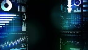 Οικονομικές ιστογράμματα και γραφικές παραστάσεις ανάπτυξης Επιχειρησιακό infographics με το βάθος του τομέα στο σκούρο μπλε υπόβ διανυσματική απεικόνιση