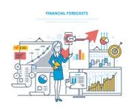 Οικονομικές προβλέψεις Εμπορική στρατηγική Οικονομικός σχεδιασμός, ανάλυση, έρευνα αγοράς, ηλεκτρονικό εμπόριο διανυσματική απεικόνιση