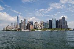 Οικονομική άποψη περιοχής του Μανχάταν από τον ποταμό του Hudson, πόλη της Νέας Υόρκης Στοκ Φωτογραφίες