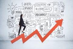 Οικονομική έννοια αύξησης και επιτυχίας απεικόνιση αποθεμάτων