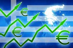 Οικονομική αύξηση της Ελλάδας στο πράσινο υπόβαθρο ειδήσεων έννοιας συμβόλων νομίσματος βελών ευρο- Στοκ Εικόνα