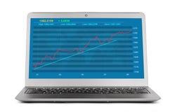 Οικονομική γραφική παράσταση ανάπτυξης στο lap-top Στοκ Εικόνες