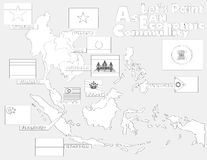 Οικονομική κοινότητα της ASEAN, χάρτης AEC Στοκ Εικόνες
