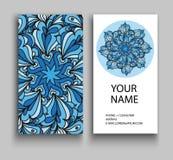 οικονομική σειρά επαγγελματικών καρτών διακοσμητικός τρύγος στ&o Διακοσμητικές floral επαγγελματικές κάρτες, ασιατικό σχέδιο Στοκ Φωτογραφίες