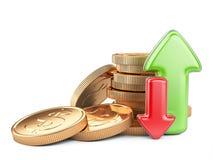 οικονομική χρυσή επιτυχία διαγραμμάτων έννοιας νομισμάτων βελών Κόκκινα και πράσινα βέλη και νομίσματα Στοκ Φωτογραφίες