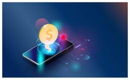 Οικονομικός διανυσματικός φουτουριστικός υποβάθρου οικονομικών τάσεων επένδυσης παγκόσμιων δικτύων, smartphones ελέγχει τις εμπορ ελεύθερη απεικόνιση δικαιώματος