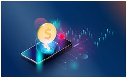 Οικονομικός διανυσματικός φουτουριστικός υποβάθρου οικονομικών τάσεων επένδυσης παγκόσμιων δικτύων, smartphones ελέγχει τις εμπορ απεικόνιση αποθεμάτων