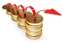 οικονομικός χρυσός έννοιας νομισμάτων αναπτύσσει τα χρήματα απεικόνιση αποθεμάτων