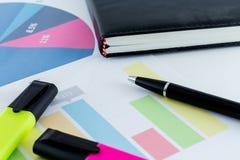 Οικονομικός χώρος εργασίας επιχειρηματιών γραφείων γραφείων στατιστικών διαγραμμάτων Στοκ Εικόνα