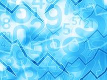 Οικονομικό ανοικτό μπλε υπόβαθρο αριθμών βελών Στοκ εικόνες με δικαίωμα ελεύθερης χρήσης