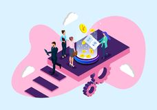 Οικονομικό γραφείο εμπορίου και επιχειρήσεων διανυσματική απεικόνιση