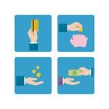 Οικονομικό εικονίδιο χεριών Στοκ φωτογραφίες με δικαίωμα ελεύθερης χρήσης