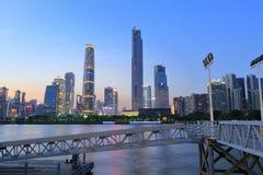 Οικονομικό ηλιοβασίλεμα περιοχής Guangzhou Στοκ Φωτογραφίες