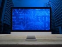 Οικονομικό σύμβολο νομίσματος στην οθόνη οργάνων ελέγχου υπολογιστών γραφείου επάνω απεικόνιση αποθεμάτων