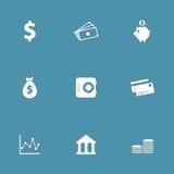 Οικονομικό σύνολο τραπεζικών διανυσματικό εικονιδίων Στοκ εικόνες με δικαίωμα ελεύθερης χρήσης