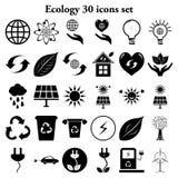 Οικολογία 30 απλά εικονίδια καθορισμένα Στοκ Φωτογραφίες