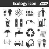 Οικολογία και ανακύκλωσης διανυσματικό σύνολο εικονιδίων Στοκ Φωτογραφία