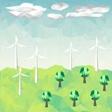 Οικολογία πολυγώνων περιβαλλοντική με το αιολικό πάρκο Στοκ φωτογραφία με δικαίωμα ελεύθερης χρήσης