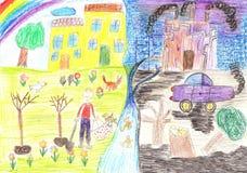 Οικολογικά childs που επισύρουν την προσοχή στο θέμα της περιβαλλοντικής ρύπανσης Στοκ φωτογραφία με δικαίωμα ελεύθερης χρήσης
