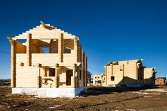 Οικολογική ξύλινη περιοχή σπιτιών και οικοδόμησης Στοκ Εικόνες