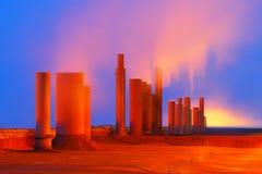 οικολογική περιβαλλοντική ρύπανση φωτογραφιών κρίσης Βιομηχανική επιχείρηση Καπνίζοντας σωλήνες Στοκ φωτογραφία με δικαίωμα ελεύθερης χρήσης