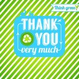 Οικολογικός ευχαριστήστε εσείς λαναρίζει. Ευγνωμοσύνη για τη σκέψη πράσινος. Στοκ Φωτογραφία