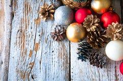 οικολογικός ξύλινος διακοσμήσεων Χριστουγέννων Τοπ όψη Copyspace Στοκ εικόνες με δικαίωμα ελεύθερης χρήσης