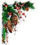 οικολογικός ξύλινος διακοσμήσεων Χριστουγέννων watercolor λευκό απομόνωσης ντεκόρ Χριστουγέννων Στοκ εικόνα με δικαίωμα ελεύθερης χρήσης