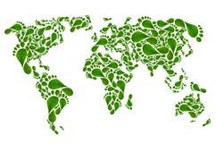 Οικολογικός χάρτης του κόσμου στην πράσινη τυπωμένη ύλη ποδιών, Στοκ Εικόνες