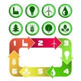 Οικολογικό διάγραμμα κύκλων τα πράσινα εικονίδια που απομονώνονται με Στοκ φωτογραφία με δικαίωμα ελεύθερης χρήσης
