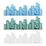 Οικοδομήματα ακίνητων περιουσιών και κατοικημένοι πύργοι ελεύθερη απεικόνιση δικαιώματος