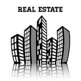 Οικοδομήματα ακίνητων περιουσιών και κατοικημένοι πύργοι απεικόνιση αποθεμάτων