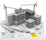 Οικοδόμηση ενός κτηρίου τα επίπεδα κτημάτων στεγάζουν την πραγματική πώληση μισθώματος Επισκευή και ανακαίνιση Στοκ φωτογραφία με δικαίωμα ελεύθερης χρήσης
