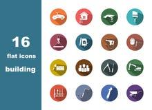 οικοδόμηση 16 επίπεδη εικονιδίων Στοκ εικόνες με δικαίωμα ελεύθερης χρήσης