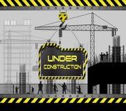 Οικοδόμηση κάτω από το εργοτάξιο οικοδομής με τον πίνακα σημαδιών Στοκ Εικόνες