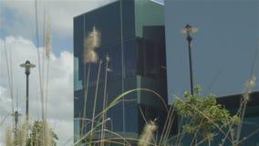 Οικοδόμηση καθιερώνοντας το πυροβοληθε'ν σύγχρονο επιχειρησιακό εξωτερικό γραφείων αρχιτεκτονικής απόθεμα βίντεο