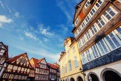1850 1890 οικοδόμηση κατασκευασμένα Windows προσόψεων Γοητευτική πόλη στη Γερμανία Λι Στοκ Εικόνες