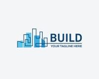 Οικοδόμηση κτηρίου, επιχειρησιακό σημάδι ακίνητων περιουσιών Στοκ Εικόνες