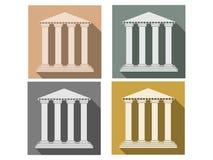 Οικοδόμηση με τις στήλες Σύνολο εικονιδίων σε ένα επίπεδο ύφος στήλη Δωρικό, ρωμαϊκό ύφος διανυσματική απεικόνιση