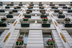 Οικοδόμηση με το λουλούδι Στοκ Φωτογραφίες