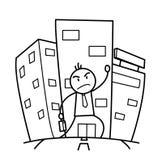 Οικοδόμηση μιας σταδιοδρομίας σε μια μεγάλη πόλη Doodle Στοκ Εικόνες