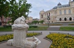 οικοδόμηση της ιστορικής όπερας Ουκρανία της Οδησσός σπιτιών Στοκ Φωτογραφία