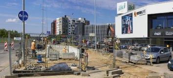 Οικοδόμηση της νέας υπόγειας διάβασης πεζών Στοκ Εικόνες