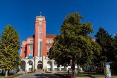 Οικοδόμηση του Δημαρχείου στο κέντρο Pleven, Βουλγαρία Στοκ Εικόνες
